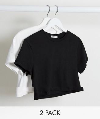 Stradivarius crop t-shirt multipack in black & white