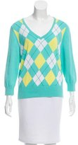 Tibi Argyle V-Neck Sweater