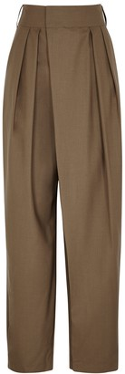Low Classic Brown Pleated Tapered Wool Trousers