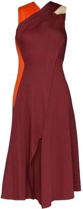 Victoria Beckham Draped Twist Back Midi Dress