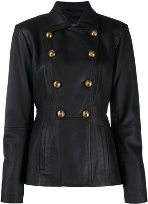 Pinko Leather-Look Button Jacket