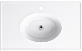 "Kohler Ceramic/Impressions 37"" Oval Vanity-Top Top FInish: White, Faucet Mount: Single"