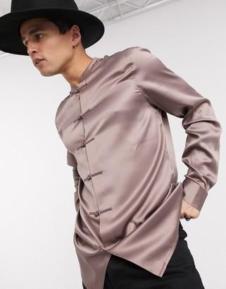 ASOS DESIGN regular fit satin mandarin collar shirt with knot front detail