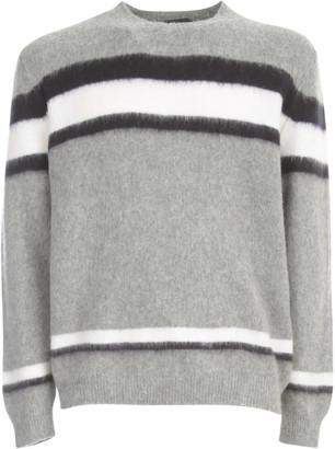 Zanone Round Neck Striped Lambswool Sweater