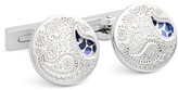 Robert Graham Silvertone & Blue Paisley Cuff Links