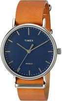Timex Fairfield Leather Slip-Thru Strap Watches