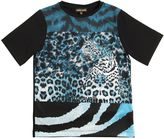 Roberto Cavalli Leopard Printed Cotton Jersey T-Shirt