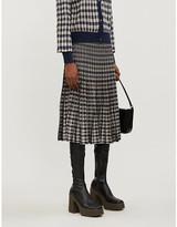 Baum und Pferdgarten Cyrilla houndstooth-pattern stretch-knit midi skirt
