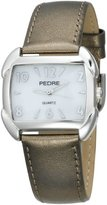 Pedre Women's 7750SX Silver-Tone Watch with Pewter-Foil Leather Strap