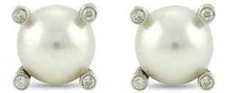 David Yurman Pearl And Diamond Stud Earrings