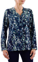 Haggar Petite Button-Front Printed Tunic Blouse