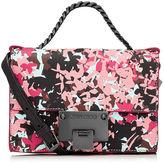 Jimmy Choo REBEL SOFT MINI Dahlia and Brown Camoflower Print Soft Grained Goat Leather Mini Cross Body Bag