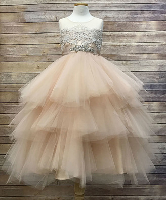 Precious Kids Girls' Special Occasion Dresses Champagne - Champagne Embellished Tulle Tiered-Skirt Dress - Toddler & Girls