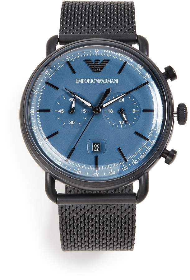 f8d6649a8a5c Mens Emporio Armani Black Watches - ShopStyle
