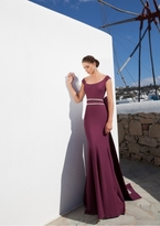 Tarik Ediz Beaded Scoop Neck Dress 92615