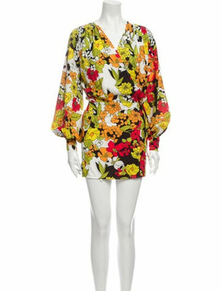 ATTICO Floral Print Mini Dress Yellow