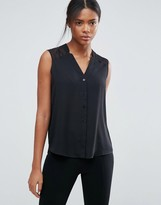 Asos Sleeveless Blouse with V-Neck and Notches