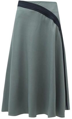 Palmer Harding Palmer//Harding Palmer//harding - Radiant Pleated Twill Midi Skirt - Womens - Khaki