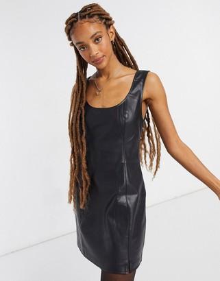 BB Dakota stretch vegan friendly leather mini dress in black
