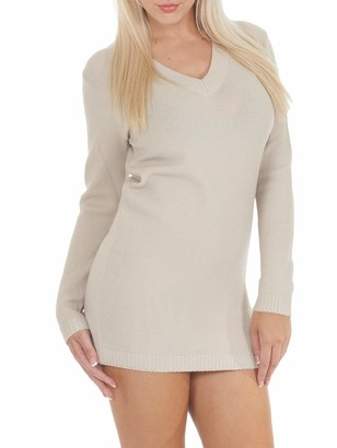 Love My Fashions Women Jumpers Pullover Tops Blouse Chunky Knitted Sweater Long Sleeves V-Neck Full Length Plain Dress S M L XL Beige