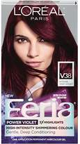 L'Oreal Hair Color Feria Multi-Faceted Shimmering Color, V38 Violet Noir (Intense Deep Violet)