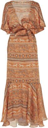 Johanna Ortiz The Quintessence Of Calm Printed Chiffon Maxi Dress Size