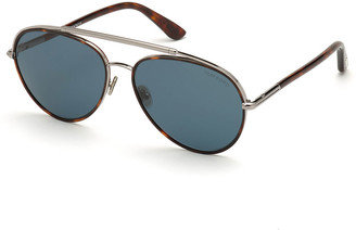 Tom Ford Men's Curtis Metal Tortoiseshell Brow-Bar Sunglasses