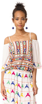 Pia Pauro Open Shoulder Embroidered Dress