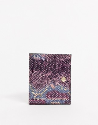 French Connection leather card holder in python print