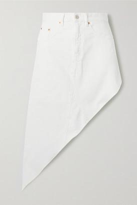 MM6 MAISON MARGIELA Asymmetric Frayed Denim Skirt - White
