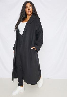 Missguided Plus Size Black Split Side Formal Midaxi Coat