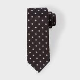 Paul Smith Men's Black And White Star Pattern Narrow Silk Tie