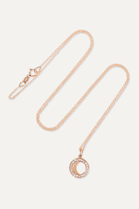 Andrea Fohrman Waning/ Waxing Gibbous Moon 18-karat Rose Gold Diamond Necklace - one size