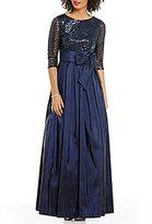 Jessica Howard 3/4-Sleeve Sequin Taffeta Ballgown