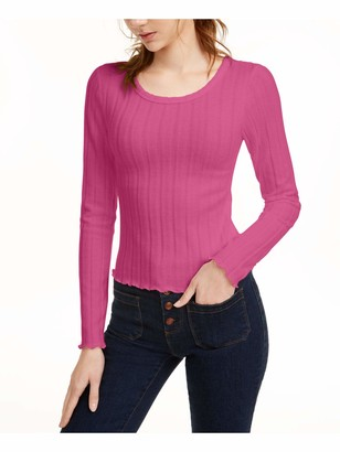 FRESHMAN FOREVER Womens Pink Ribbed Striped Long Sleeve Scoop Neck Top Juniors Size: XL
