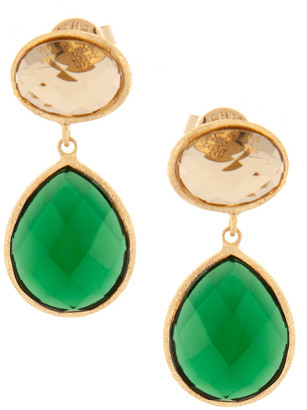Rivka Friedman 18K Plated Crystal Dangle Earrings