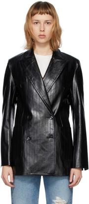 Stand Studio Black Faux-Leather Emerina Blazer