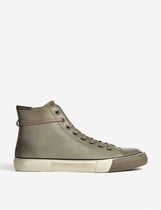 AllSaints Osun distressed leather high-top trainers