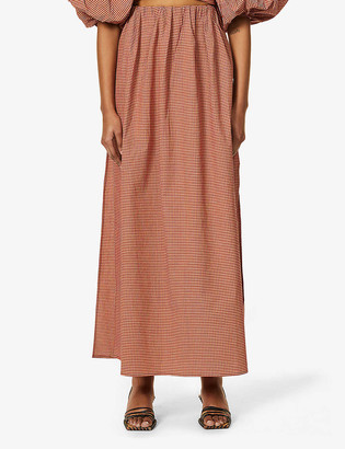Camilla And Marc Vega gingham-print high-waist stretch-cotton midi skirt