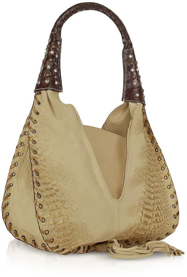 Ghibli Jeweled Beige Suede and Leather Hobo Bag