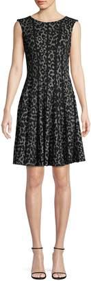 Gabby Skye Leopard-Print Sleeveless Fit--Flare Dress