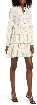Vero Moda Mirene Windowpane Check Long Sleeve Tiered Babydoll Dress