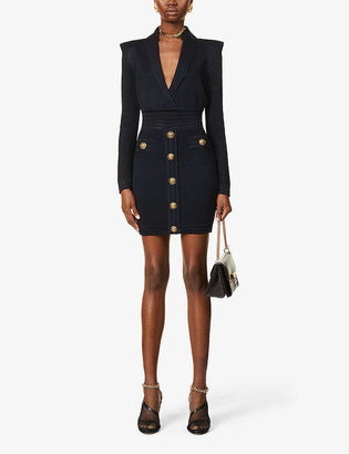 Balmain Button-embellished knitted mini dress