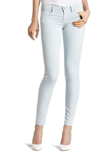 7 For All Mankind Women's Foil Floral Skinny Jean in Light Silver Aqua