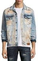 PRPS Dendrite Light-Wash Distressed Denim Jacket, Indigo