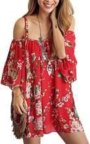 YF Women Strap Off Shoulder 3/4 Sleeve Floral Printed Mini Dress