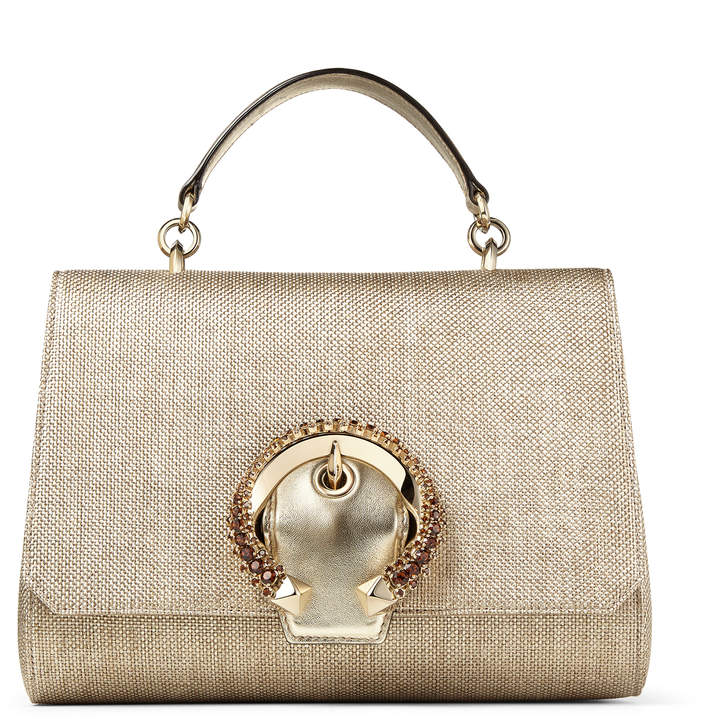 Jimmy Choo MADELINE TOP HANDLE Metallic Lame Raffia Top Handle Bag with Crystal Buckle