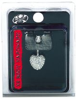 Pacific Piercing Supply X8 Body Hardware Crystal Multi Stone Heart Navel Dangle