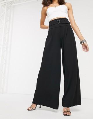 Bershka belted wide leg pants in black