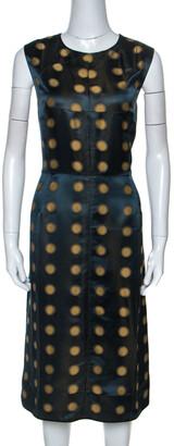 Marc Jacobs Green Polka Dot Jacquard Sleeveless Dress L